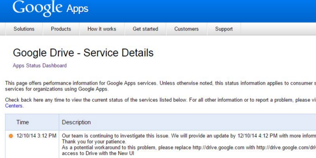Google Apps for Work Status Page